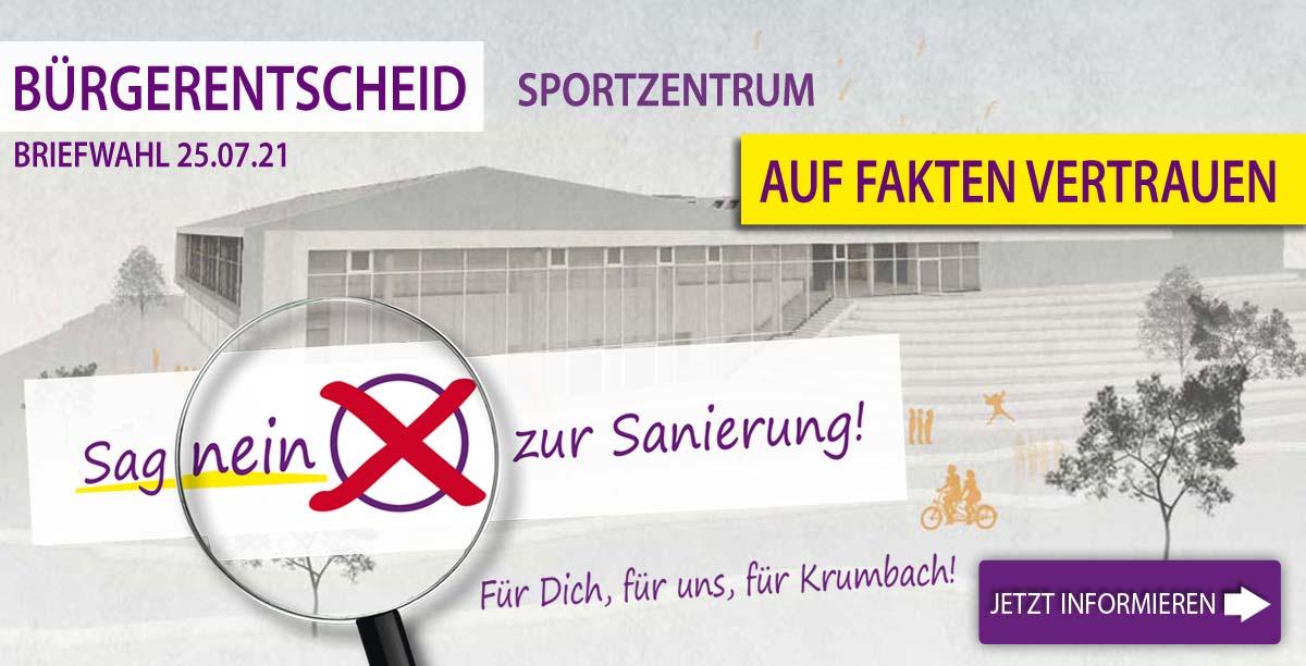 Auf Fakten Vertrauen! Bürgerentscheid Krumbach Sportzentrum: Sag nein zur Sanierung!